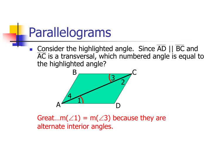 Consider the highlighted angle.  Since AD || BC and AC is a transversal, which numbered angle is equal to the highlighted angle?