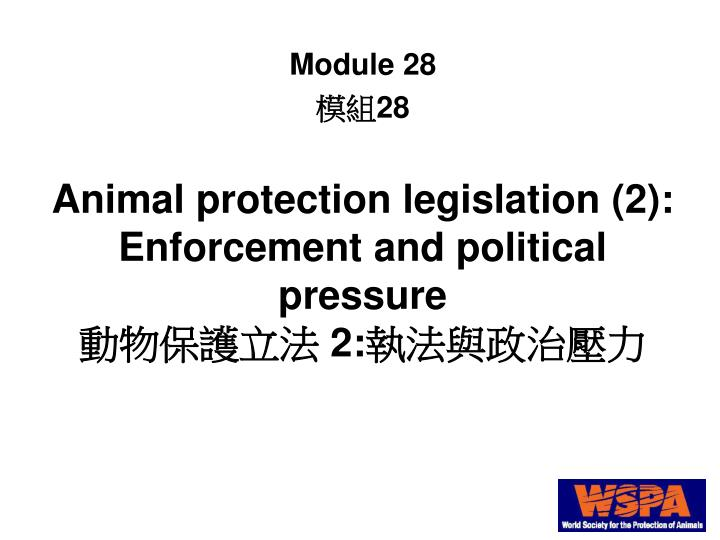 Animal protection legislation (2):