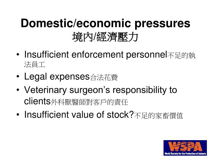 Domestic/economic pressures