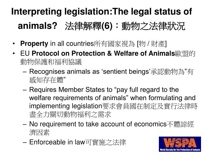 Interpreting legislation:The legal status of animals?