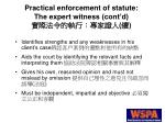 practical enforcement of statute the expert witness cont d