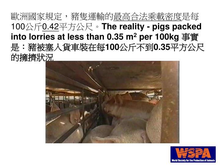 歐洲國家規定,豬隻運輸的