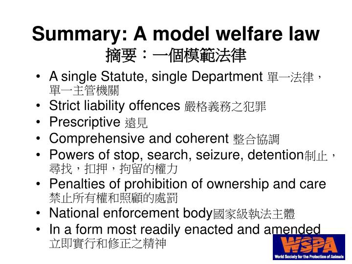 Summary: A model welfare law