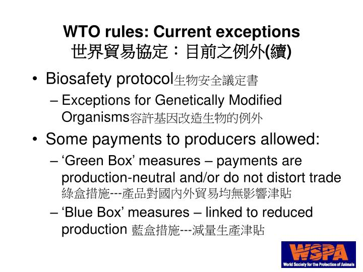 WTO rules: Current exceptions