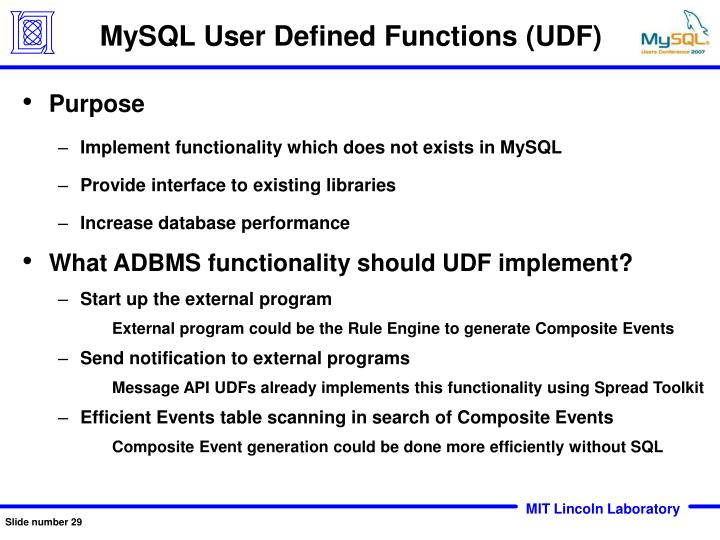 MySQL User Defined Functions (UDF)