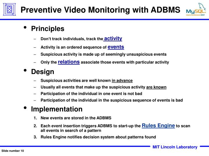 Preventive Video Monitoring with ADBMS