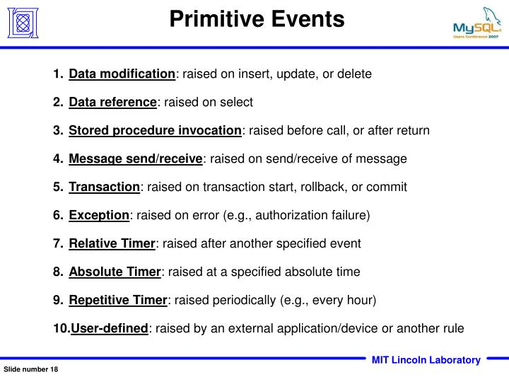Primitive Events