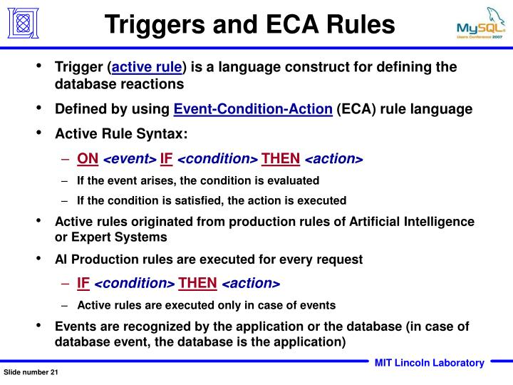 Triggers and ECA Rules