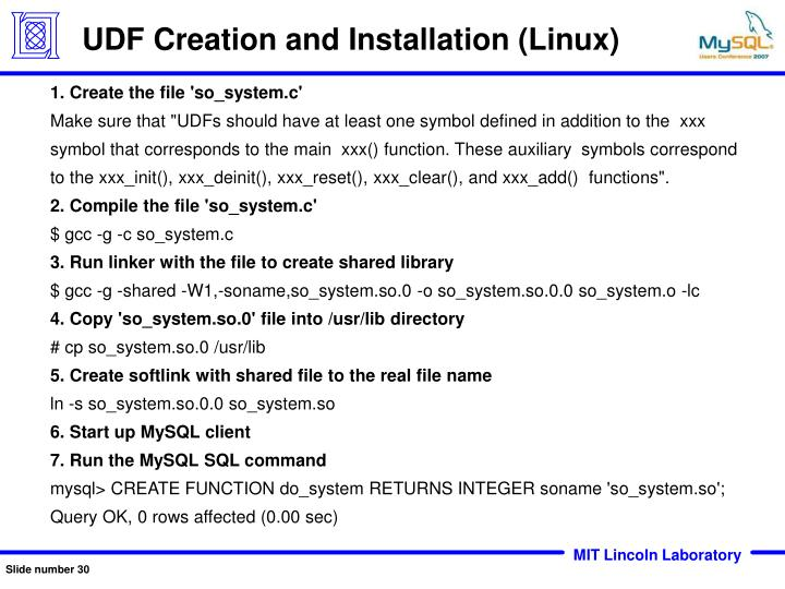 UDF Creation and Installation (Linux)