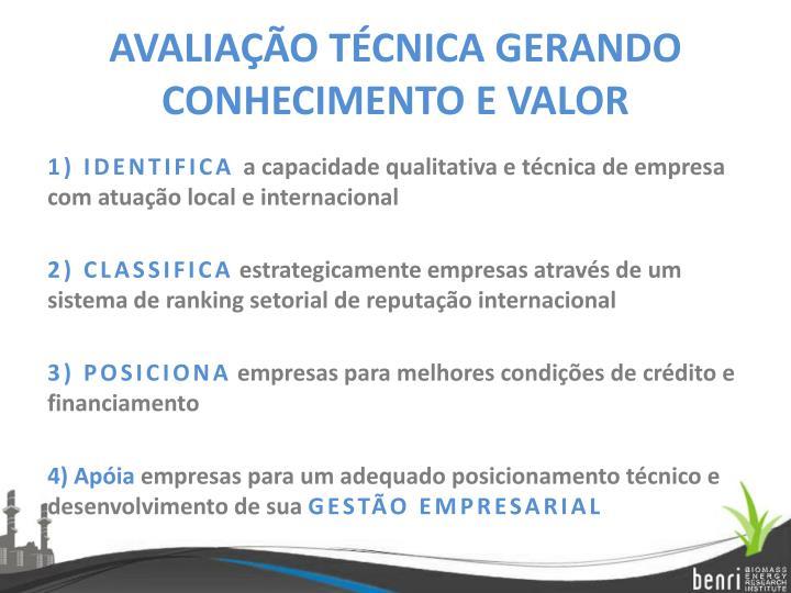 AVALIAÇÃO TÉCNICA GERANDO CONHECIMENTO E VALOR