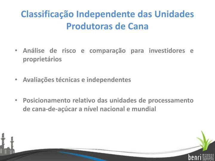 Classificação Independente das Unidades