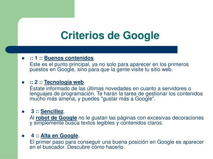 Criterios de Google