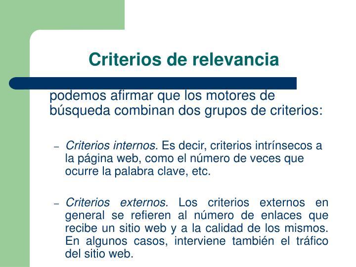 Criterios de relevancia