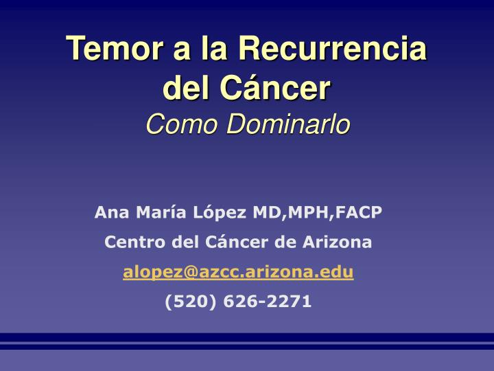 Temor a la Recurrencia del Cáncer
