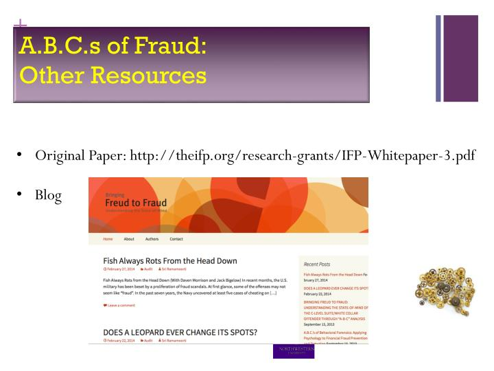 A.B.C.s of Fraud: