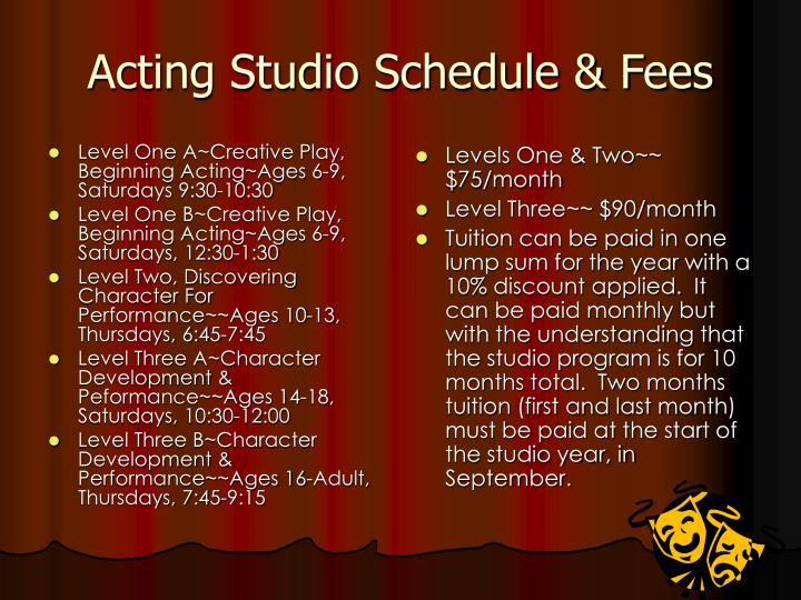Level One A~Creative Play, Beginning Acting~Ages 6-9, Saturdays 9:30-10:30