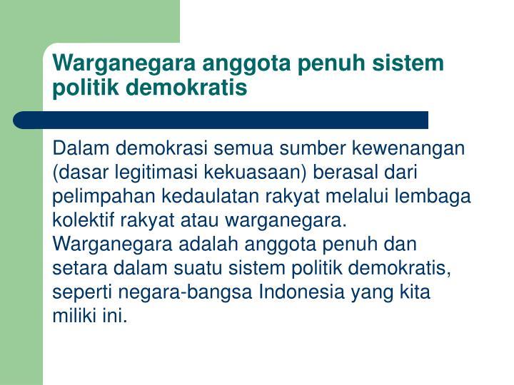 Warganegara anggota penuh sistem politik demokratis