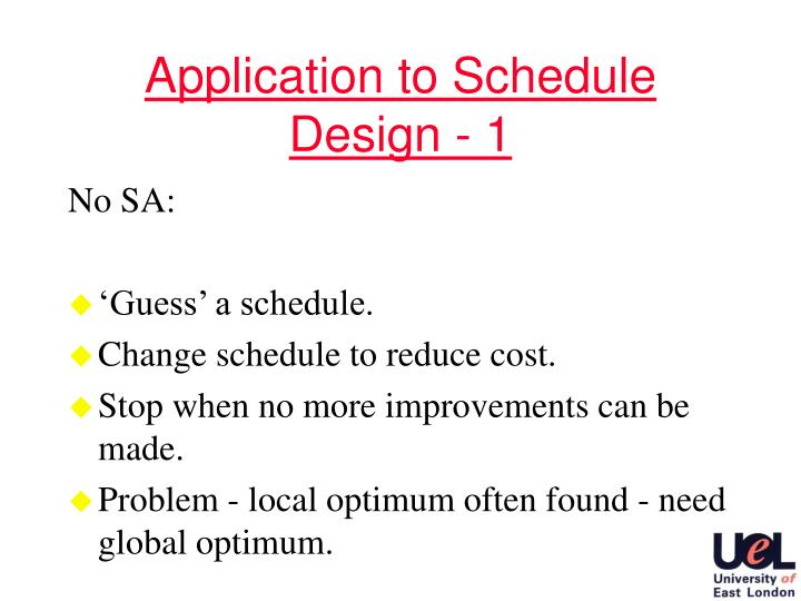 Application to Schedule Design - 1