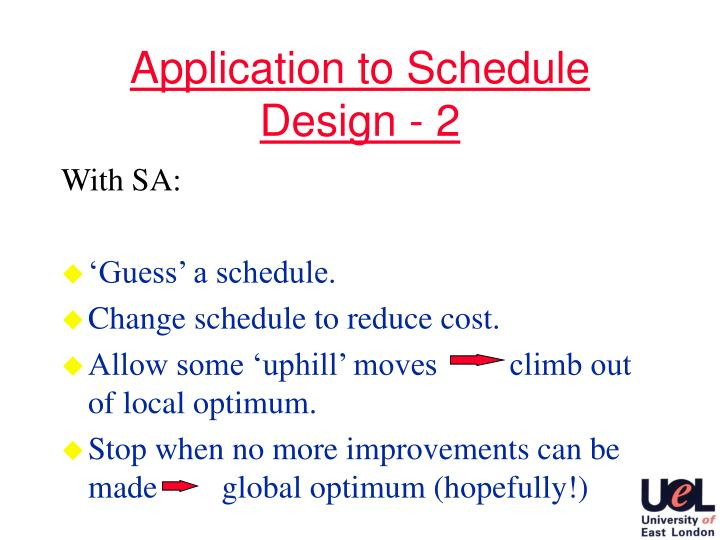 Application to Schedule Design - 2