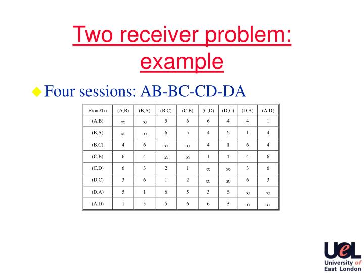 Two receiver problem: example