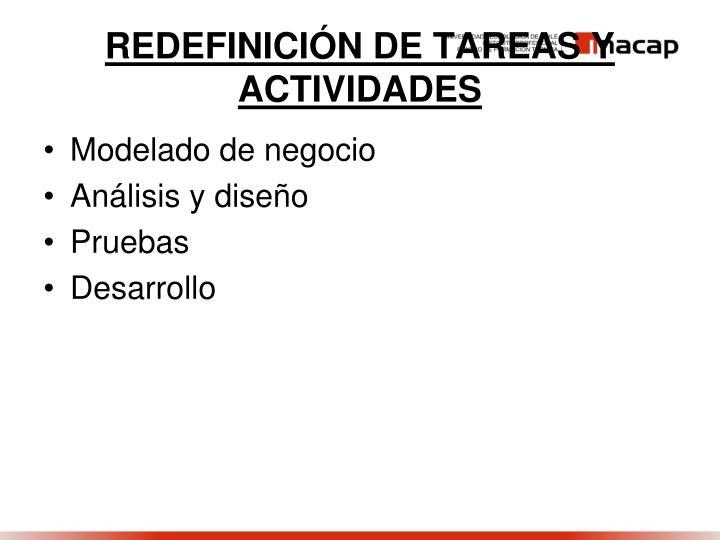 REDEFINICIÓN DE TAREAS Y ACTIVIDADES