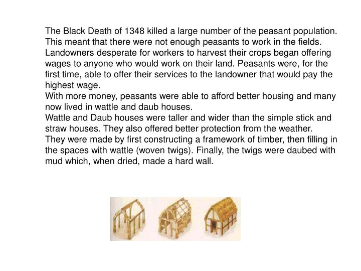 The Black Death of 1348 killed a large number of the peasant population. This meant that there were not enough peasants to work in the fields. Landowners desperate for workers to harvest their crops began offering wages to anyone who would work on their land. Peasants were, for the first time, able to offer their services to the landowner that would pay the highest wage.