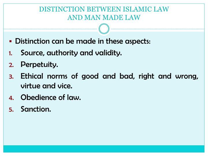 DISTINCTION BETWEEN ISLAMIC LAW