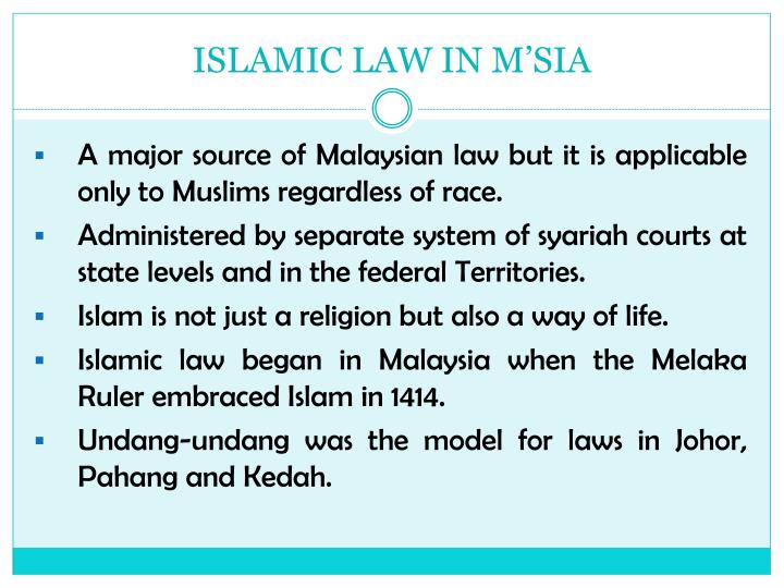 ISLAMIC LAW IN M'SIA