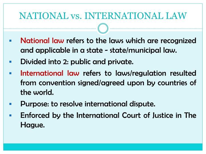 NATIONAL vs. INTERNATIONAL LAW