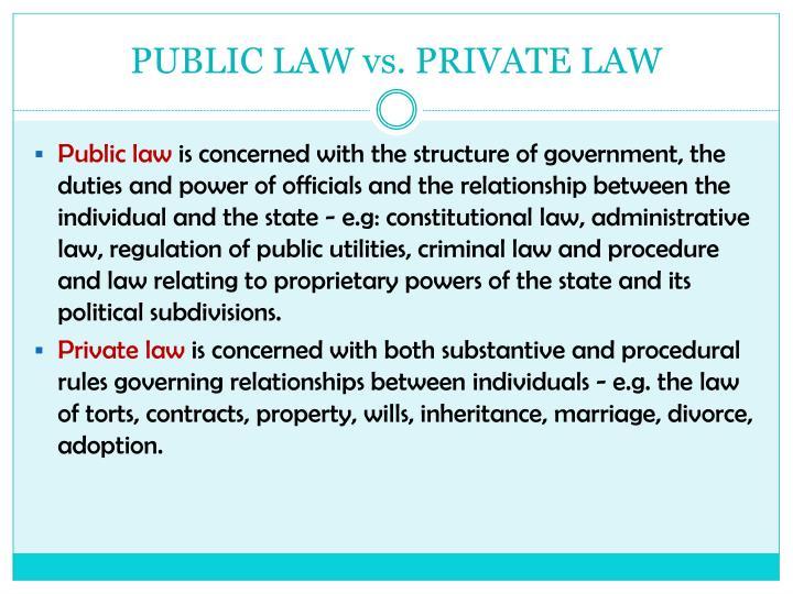 PUBLIC LAW vs. PRIVATE LAW