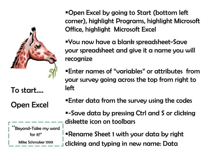 Open Excel by going to Start (bottom left corner), highlight Programs, highlight Microsoft Office, highlight  Microsoft Excel