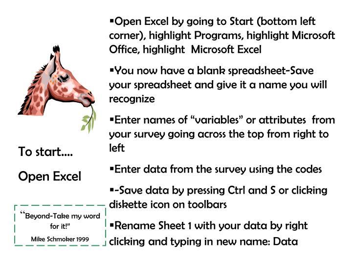 Open Excel by going to Start (bottom left corner), highlight Programs, highlight Microsoft Office, highlight  Microsoft Excel