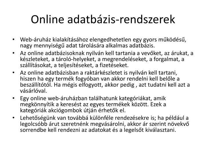 Online adatbázis-rendszerek