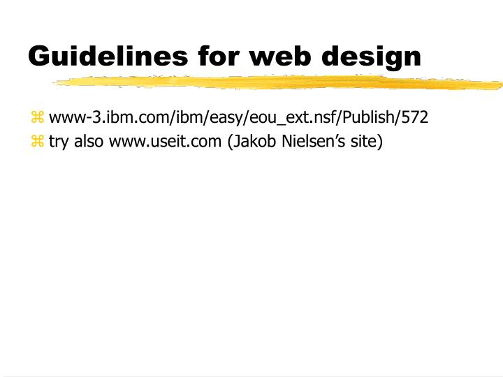 Guidelines for web design