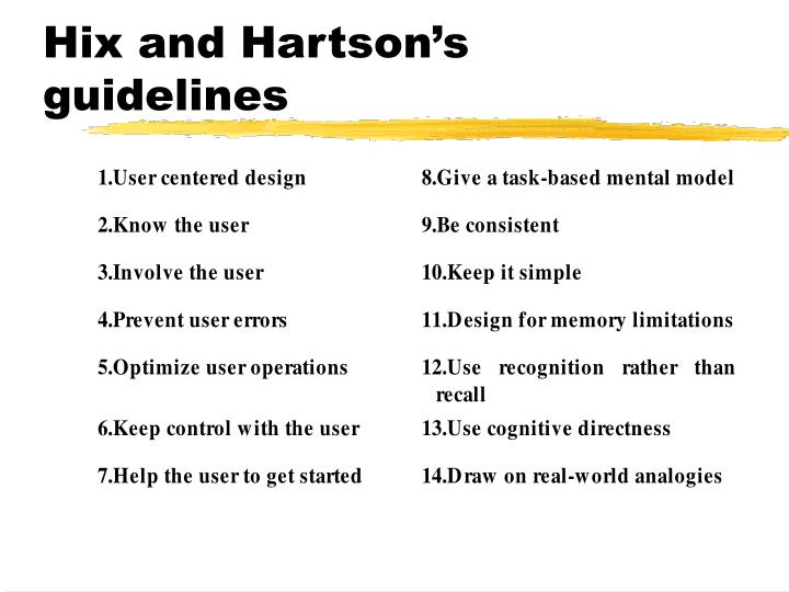 Hix and Hartson's guidelines