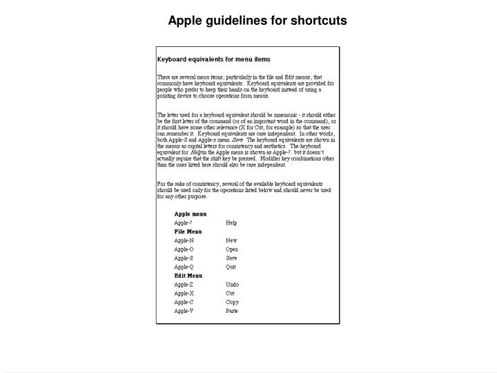 Apple guidelines for shortcuts