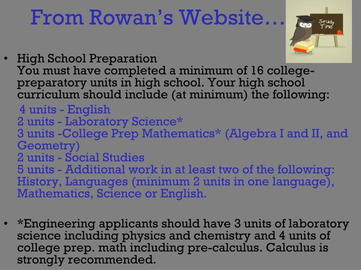 From Rowan's Website….