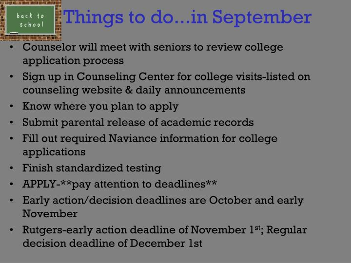 Things to do...in September