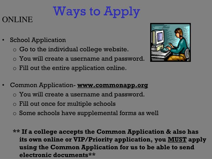 Ways to Apply