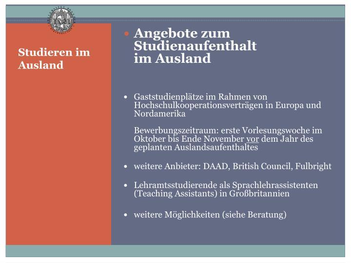 Studieren im Ausland