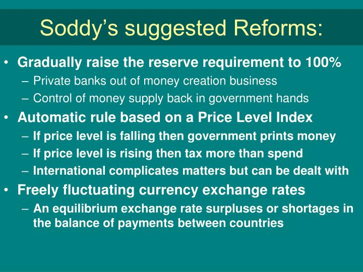 Soddy's suggested Reforms:
