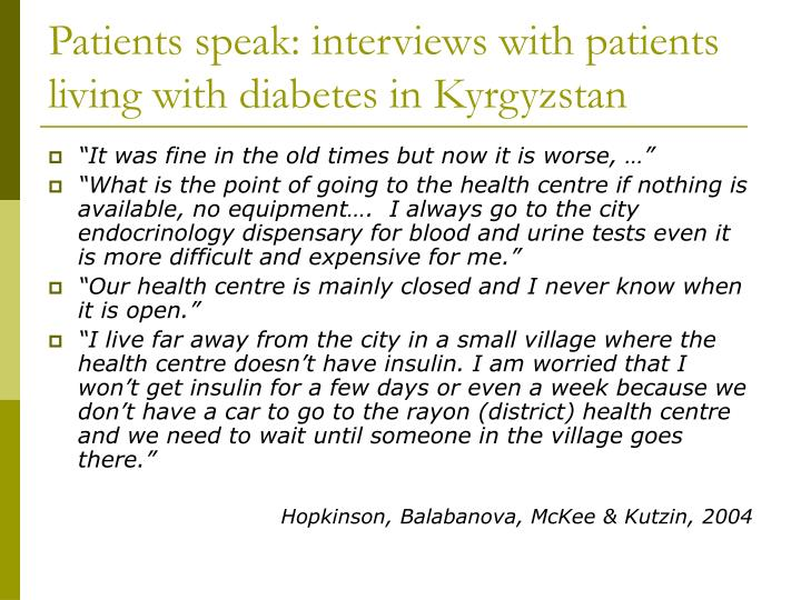 Patients speak: interviews with patients living with diabetes in Kyrgyzstan