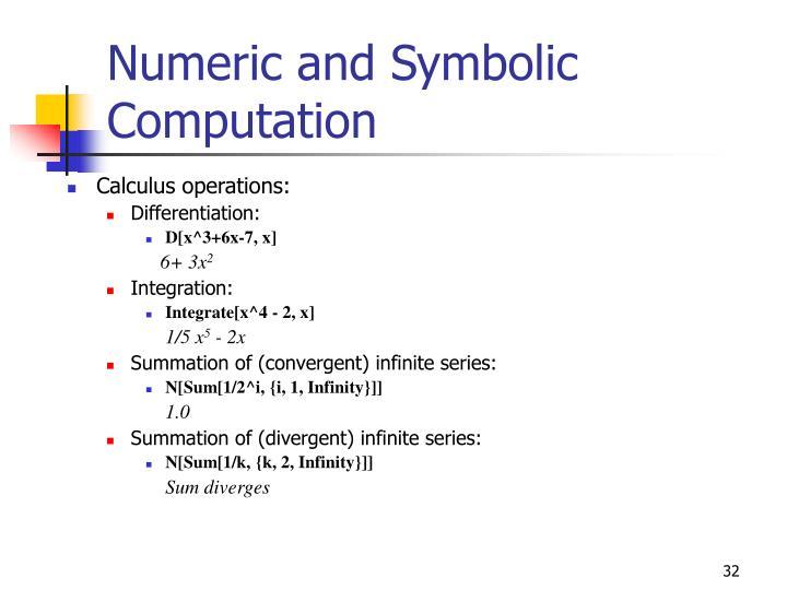 Numeric and Symbolic Computation