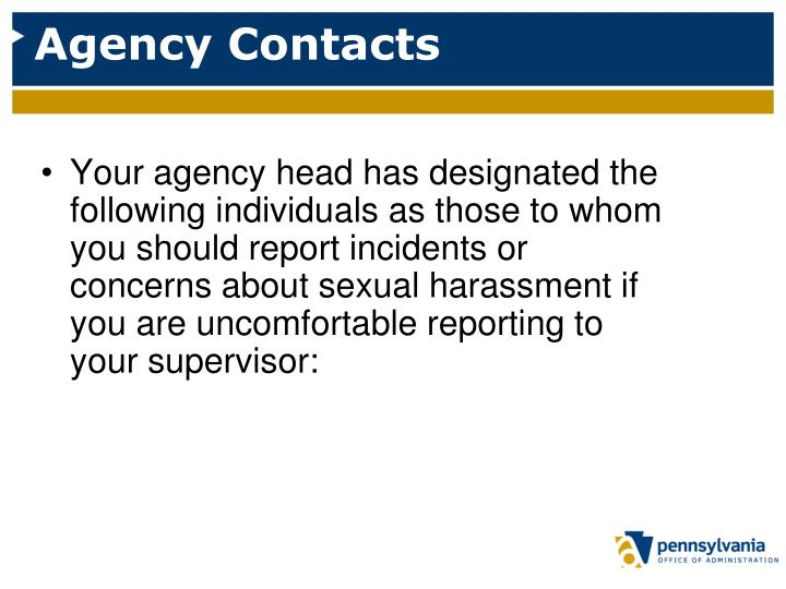 Agency Contacts