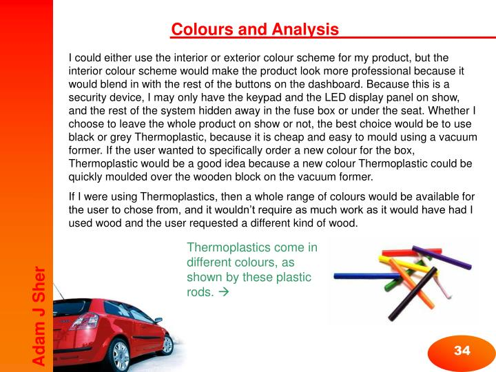 Colours and Analysis