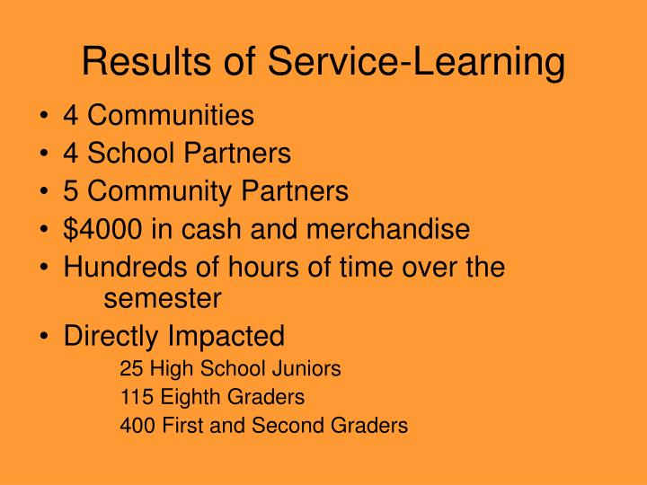 Results of Service-Learning
