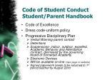 code of student conduct student parent handbook