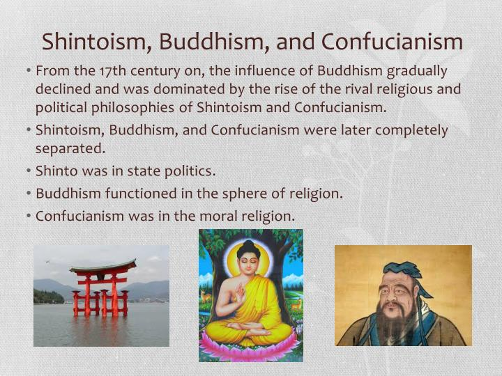 Shintoism, Buddhism, and Confucianism