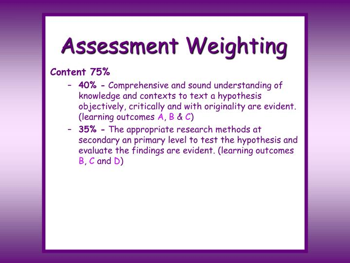 Assessment Weighting