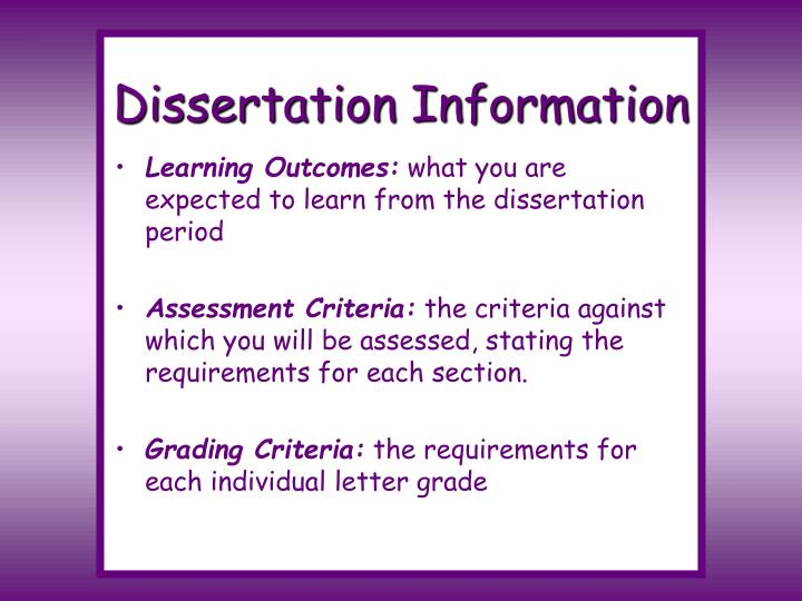 Dissertation Information